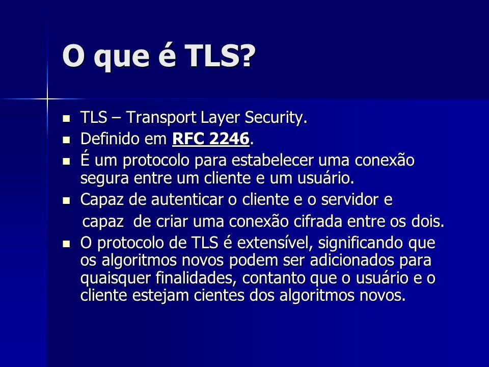 O que é TLS? TLS – Transport Layer Security. TLS – Transport Layer Security. Definido em RFC 2246. Definido em RFC 2246. É um protocolo para estabelec