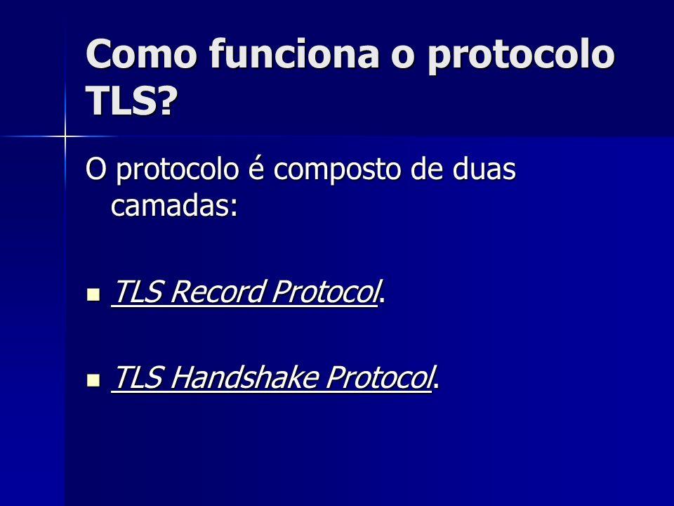 Como funciona o protocolo TLS? O protocolo é composto de duas camadas: TLS Record Protocol. TLS Record Protocol. TLS Handshake Protocol. TLS Handshake