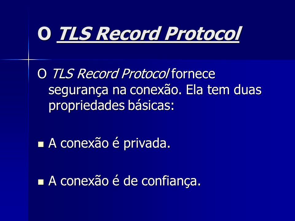 O TLS Record Protocol O TLS Record Protocol fornece segurança na conexão. Ela tem duas propriedades básicas: A conexão é privada. A conexão é privada.