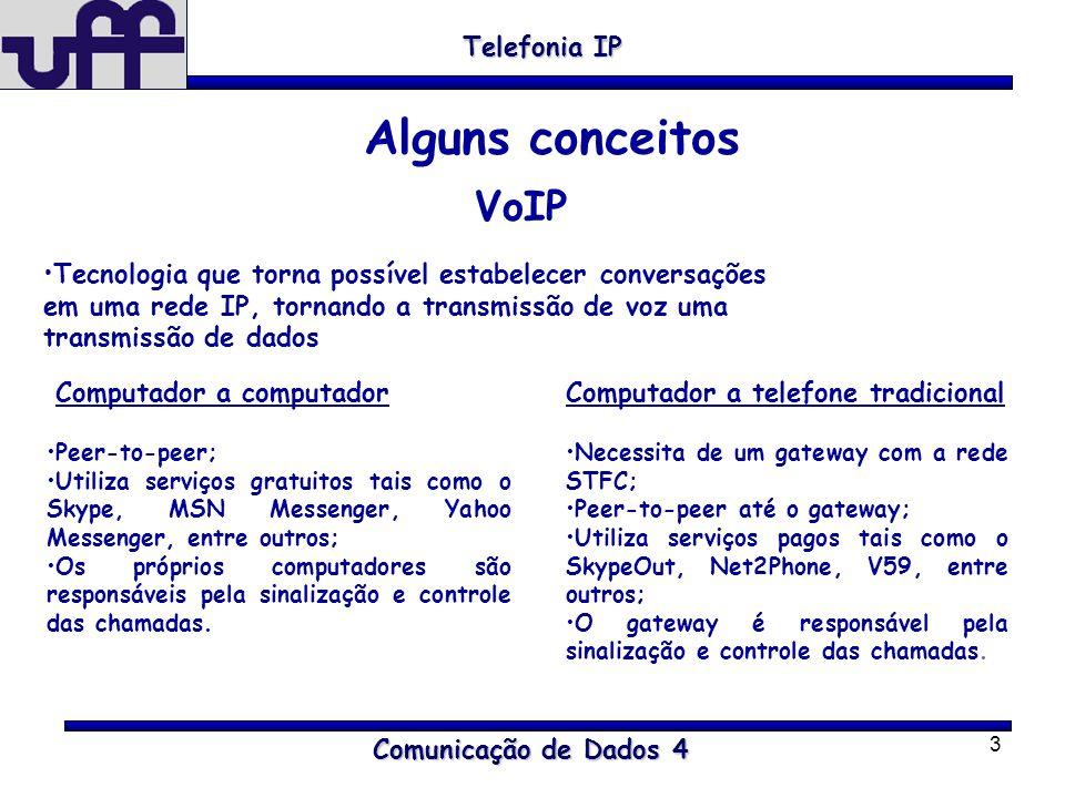 3 Comunicação de Dados 4 Telefonia IP Alguns conceitos VoIP Tecnologia que torna possível estabelecer conversações em uma rede IP, tornando a transmis