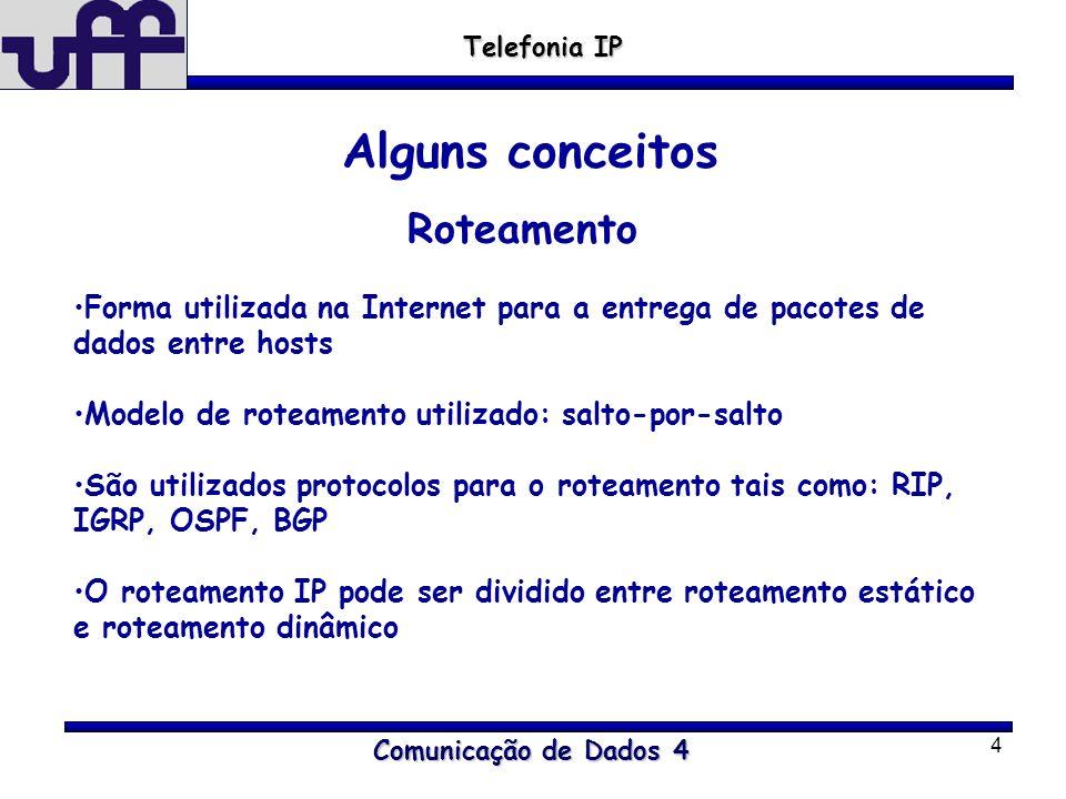 4 Comunicação de Dados 4 Telefonia IP Alguns conceitos Roteamento Forma utilizada na Internet para a entrega de pacotes de dados entre hosts Modelo de