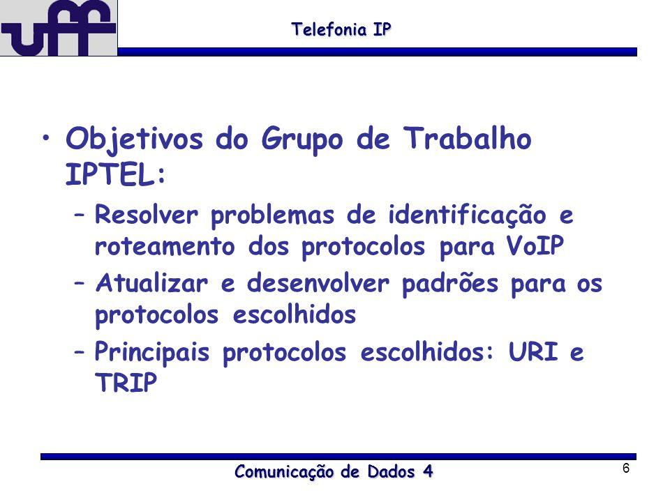 6 Objetivos do Grupo de Trabalho IPTEL: –Resolver problemas de identificação e roteamento dos protocolos para VoIP –Atualizar e desenvolver padrões pa