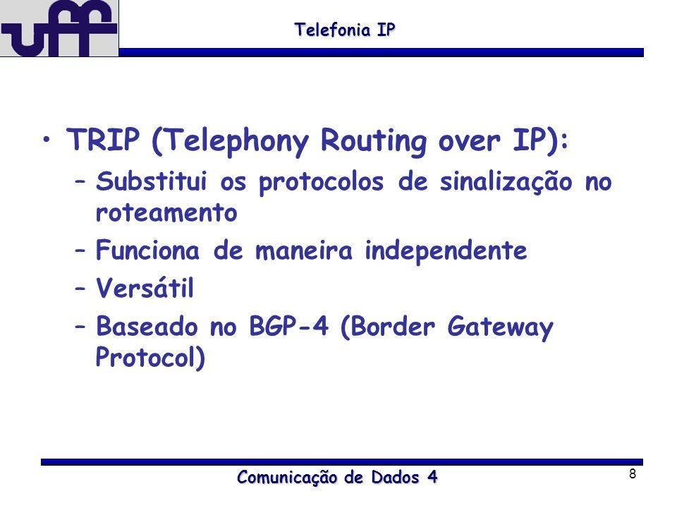 8 TRIP (Telephony Routing over IP): –Substitui os protocolos de sinalização no roteamento –Funciona de maneira independente –Versátil –Baseado no BGP-