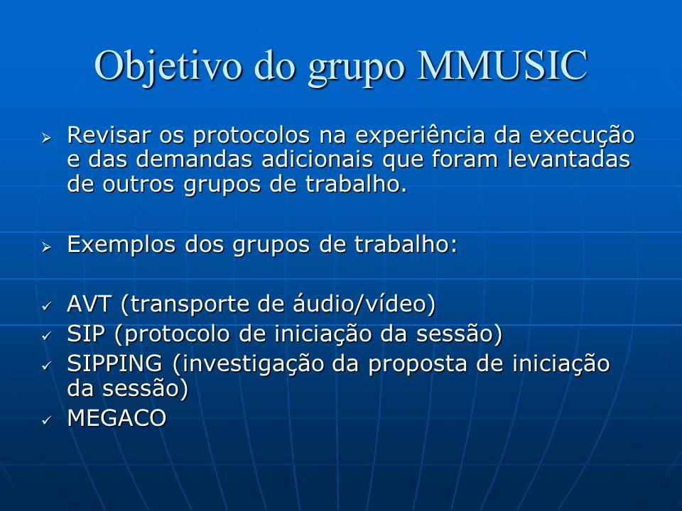 Objetivo do grupo MMUSIC Revisar os protocolos na experiência da execução e das demandas adicionais que foram levantadas de outros grupos de trabalho.