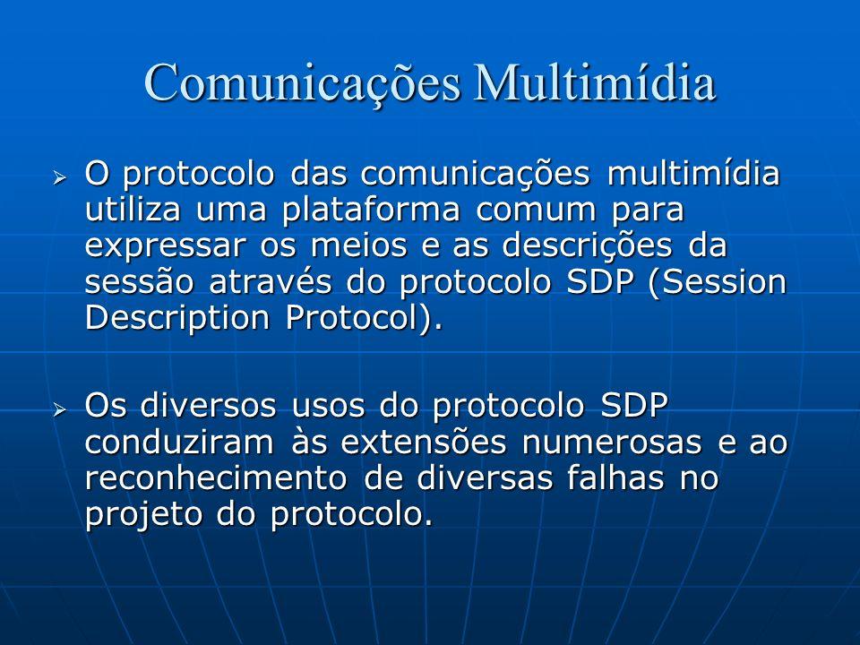 Comunicações Multimídia O protocolo das comunicações multimídia utiliza uma plataforma comum para expressar os meios e as descrições da sessão através