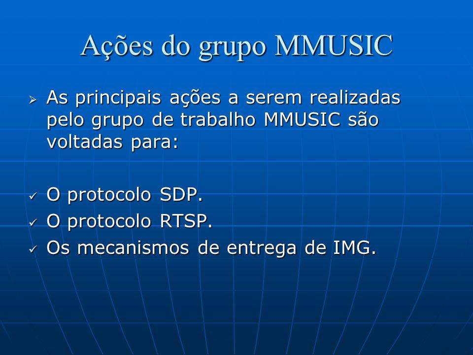 Ações do grupo MMUSIC As principais ações a serem realizadas pelo grupo de trabalho MMUSIC são voltadas para: As principais ações a serem realizadas p