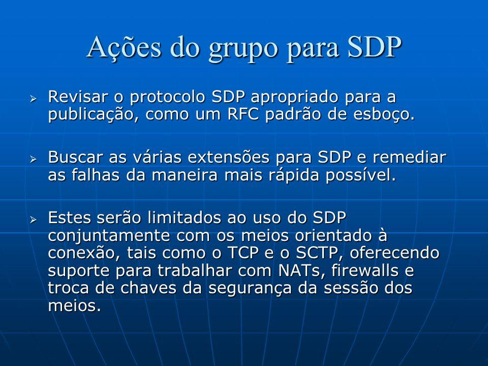 Ações do grupo para SDP Revisar o protocolo SDP apropriado para a publicação, como um RFC padrão de esboço. Revisar o protocolo SDP apropriado para a