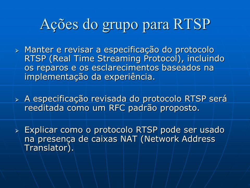 Ações do grupo para RTSP Manter e revisar a especificação do protocolo RTSP (Real Time Streaming Protocol), incluindo os reparos e os esclarecimentos