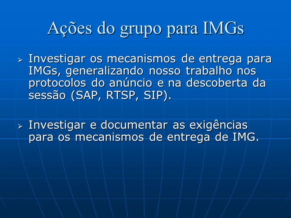 Ações do grupo para IMGs Investigar os mecanismos de entrega para IMGs, generalizando nosso trabalho nos protocolos do anúncio e na descoberta da sess