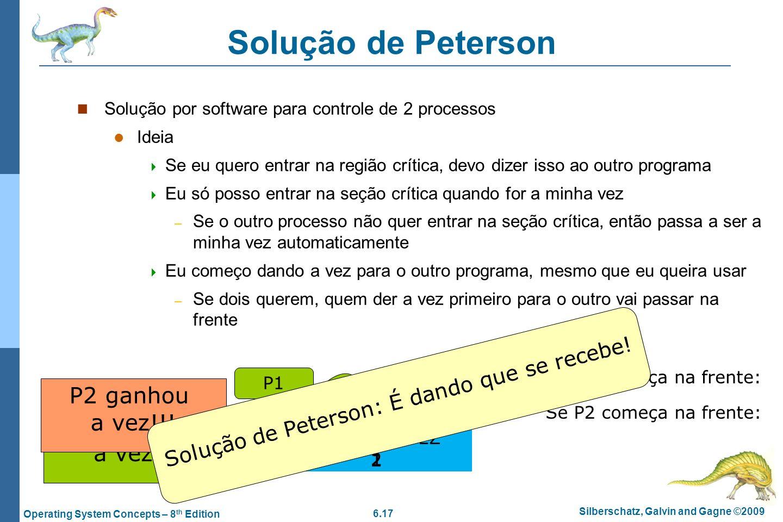 6.17 Silberschatz, Galvin and Gagne ©2009 Operating System Concepts – 8 th Edition Solução de Peterson Solução por software para controle de 2 process
