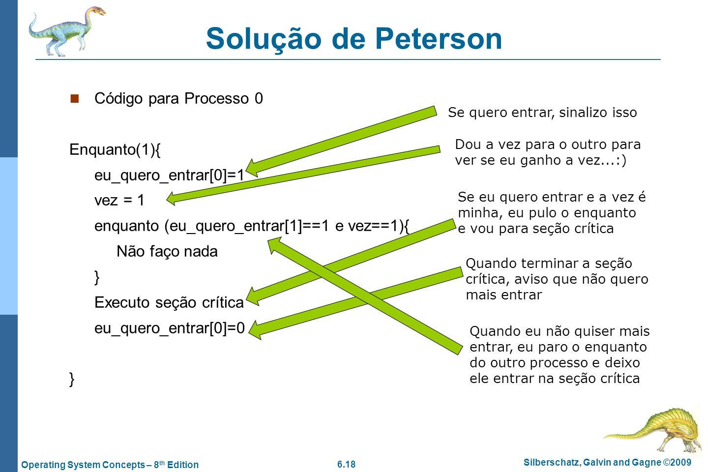 6.18 Silberschatz, Galvin and Gagne ©2009 Operating System Concepts – 8 th Edition Solução de Peterson Código para Processo 0 Enquanto(1){ eu_quero_en