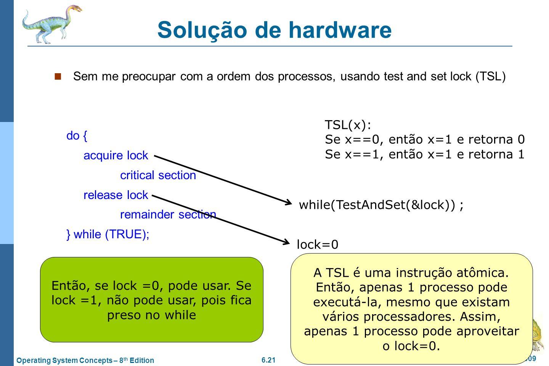 6.21 Silberschatz, Galvin and Gagne ©2009 Operating System Concepts – 8 th Edition Solução de hardware Sem me preocupar com a ordem dos processos, usa