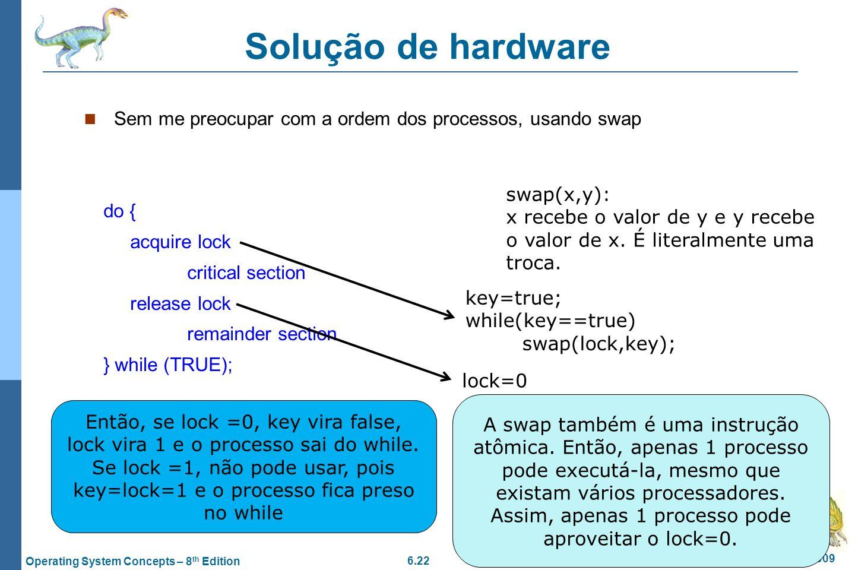 6.22 Silberschatz, Galvin and Gagne ©2009 Operating System Concepts – 8 th Edition Solução de hardware Sem me preocupar com a ordem dos processos, usa