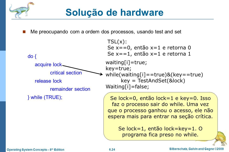 6.24 Silberschatz, Galvin and Gagne ©2009 Operating System Concepts – 8 th Edition Solução de hardware Me preocupando com a ordem dos processos, usand