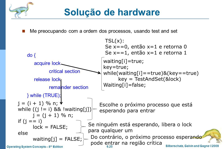 6.25 Silberschatz, Galvin and Gagne ©2009 Operating System Concepts – 8 th Edition Solução de hardware Me preocupando com a ordem dos processos, usand
