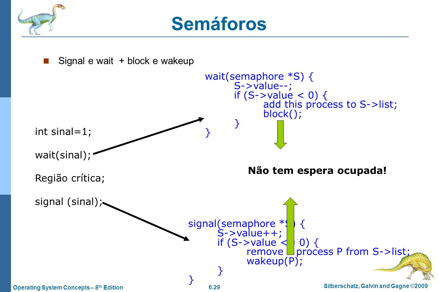 6.29 Silberschatz, Galvin and Gagne ©2009 Operating System Concepts – 8 th Edition Semáforos Signal e wait + block e wakeup wait(semaphore *S) { S->va