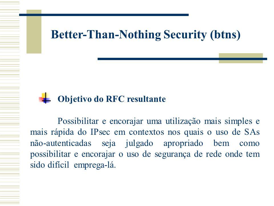 Objetivo do RFC resultante Possibilitar e encorajar uma utilização mais simples e mais rápida do IPsec em contextos nos quais o uso de SAs não-autenticadas seja julgado apropriado bem como possibilitar e encorajar o uso de segurança de rede onde tem sido difícil emprega-lá.