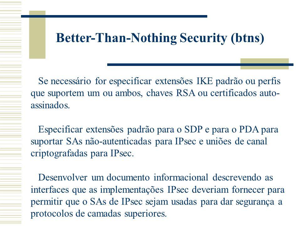 Better-Than-Nothing Security (btns) Se necessário for especificar extensões IKE padrão ou perfis que suportem um ou ambos, chaves RSA ou certificados auto- assinados.