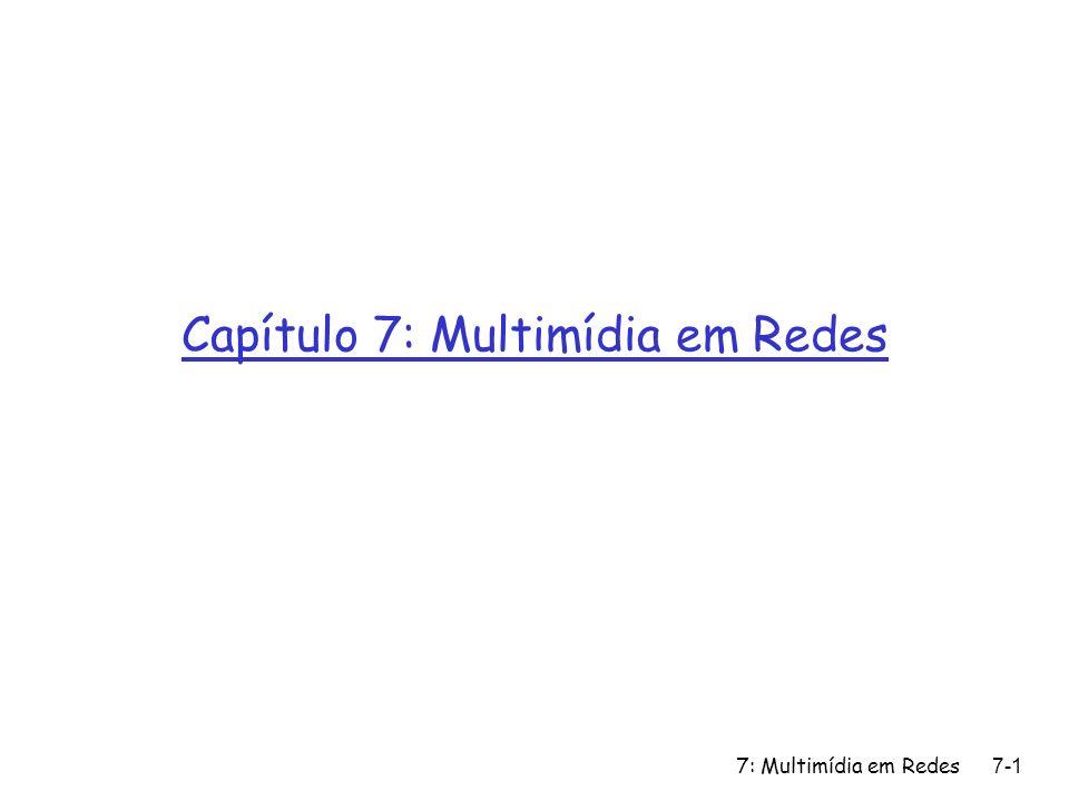 7: Multimídia em Redes7-82 Disciplinas de Escalonamento (cont.) Weighted Fair Queuing (Fila justa ponderada): r Round Robin generalizado r cada classe recebe um tempo de serviço diferenciado em cada ciclo r exemplo do mundo real.