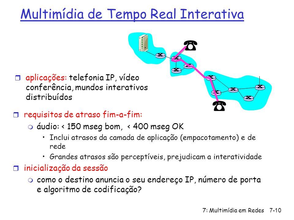 7: Multimídia em Redes7-10 Multimídia de Tempo Real Interativa r requisitos de atraso fim-a-fim: m áudio: < 150 mseg bom, < 400 mseg OK Inclui atrasos da camada de aplicação (empacotamento) e de rede Grandes atrasos são perceptíveis, prejudicam a interatividade r inicialização da sessão m como o destino anuncia o seu endereço IP, número de porta e algoritmo de codificação.