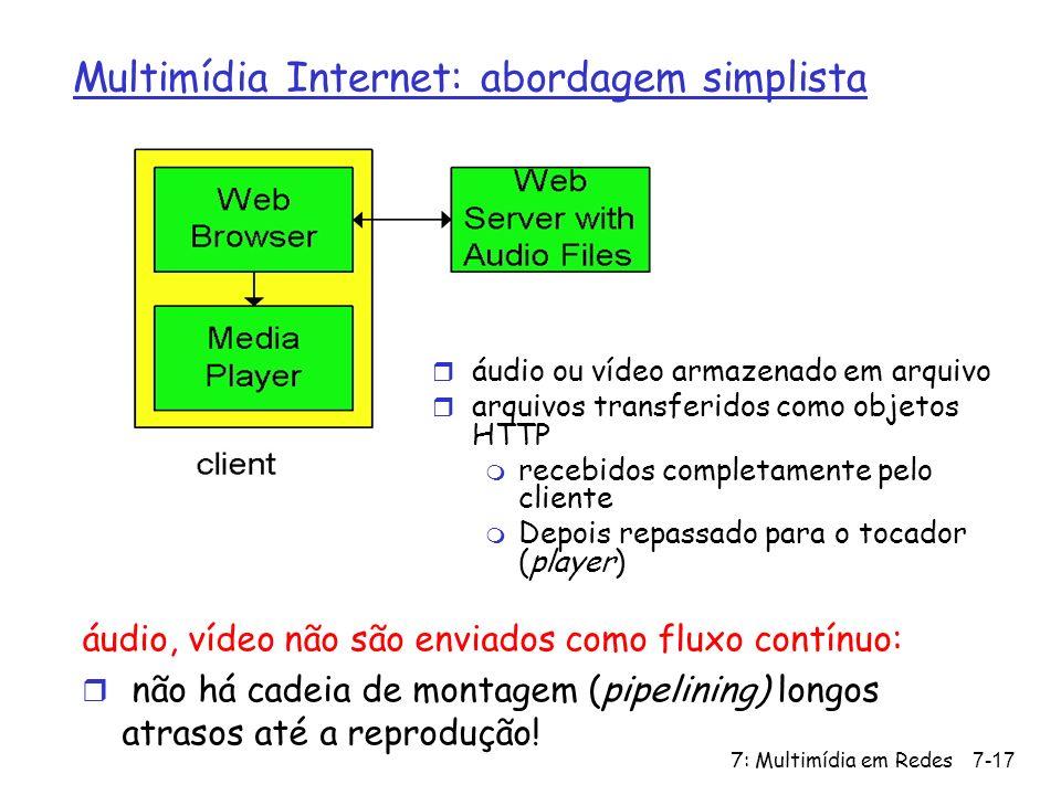 7: Multimídia em Redes7-17 Multimídia Internet: abordagem simplista áudio, vídeo não são enviados como fluxo contínuo: r não há cadeia de montagem (pipelining) longos atrasos até a reprodução.