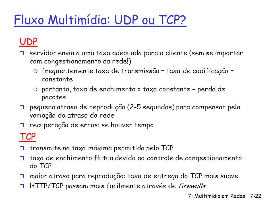 7: Multimídia em Redes7-22 Fluxo Multimídia: UDP ou TCP.