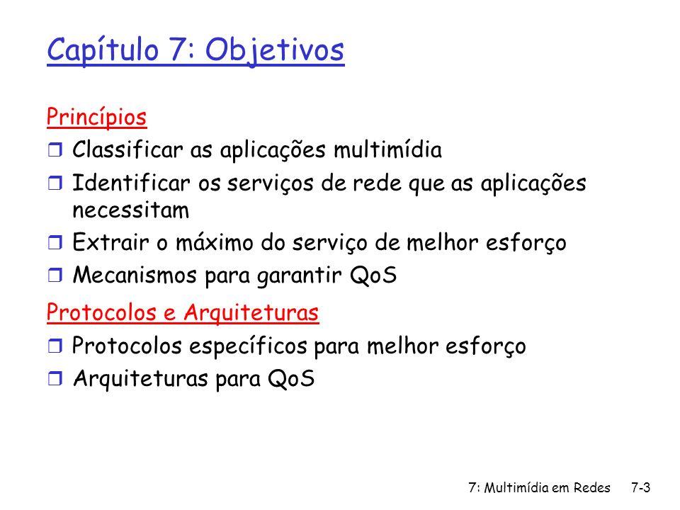 7: Multimídia em Redes7-4 Capítulo 7: Roteiro r 7.1 Aplicações Multimídia em Redes r 7.2 Fluxos contínuos (Streams) de áudio e vídeo armazenados r 7.3 Multimídia em Tempo Real: estudo do Telefone Internet r 7.4 Protocolos para Aplicações Interativas de Tempo Real m RTP,RTCP,SIP r 7.5 Distribuição de Multimídia: redes de distribuição de conteúdos r 7.6 Além do Melhor Esforço r 7.7 Mecanismos de Escalonamento e Policiamento r 7.8 Serviços Integrados e Serviços Diferenciados r 7.9 RSVP
