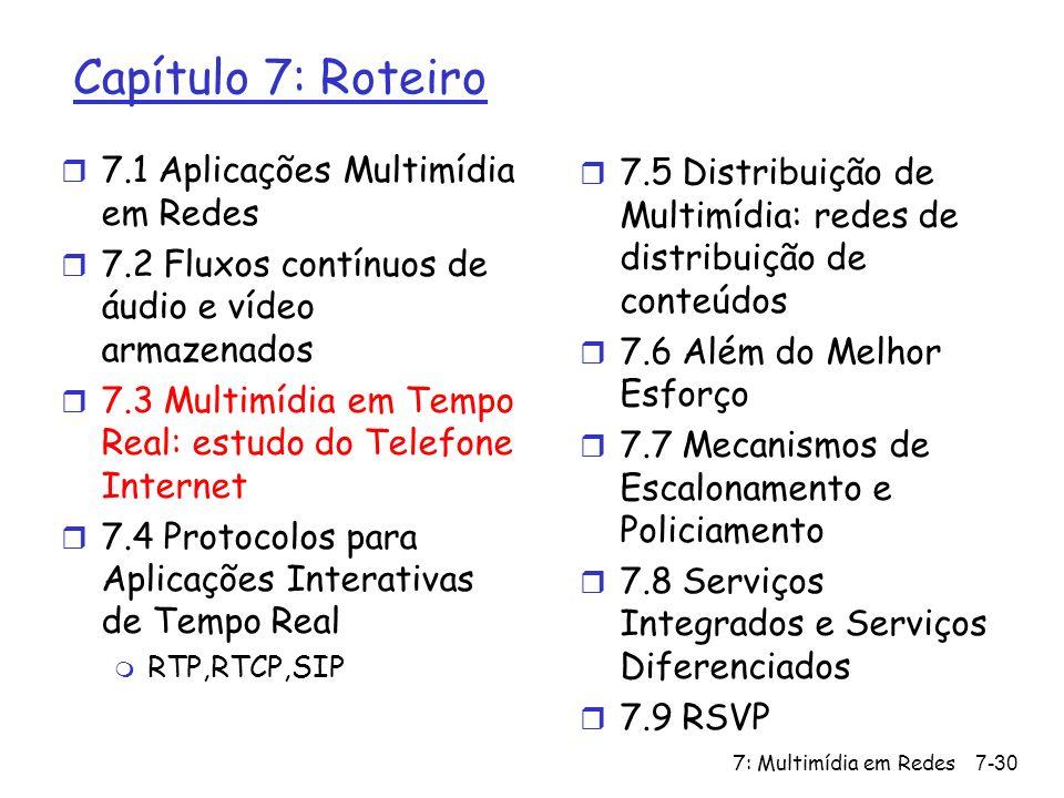 7: Multimídia em Redes7-30 Capítulo 7: Roteiro r 7.1 Aplicações Multimídia em Redes r 7.2 Fluxos contínuos de áudio e vídeo armazenados r 7.3 Multimídia em Tempo Real: estudo do Telefone Internet r 7.4 Protocolos para Aplicações Interativas de Tempo Real m RTP,RTCP,SIP r 7.5 Distribuição de Multimídia: redes de distribuição de conteúdos r 7.6 Além do Melhor Esforço r 7.7 Mecanismos de Escalonamento e Policiamento r 7.8 Serviços Integrados e Serviços Diferenciados r 7.9 RSVP