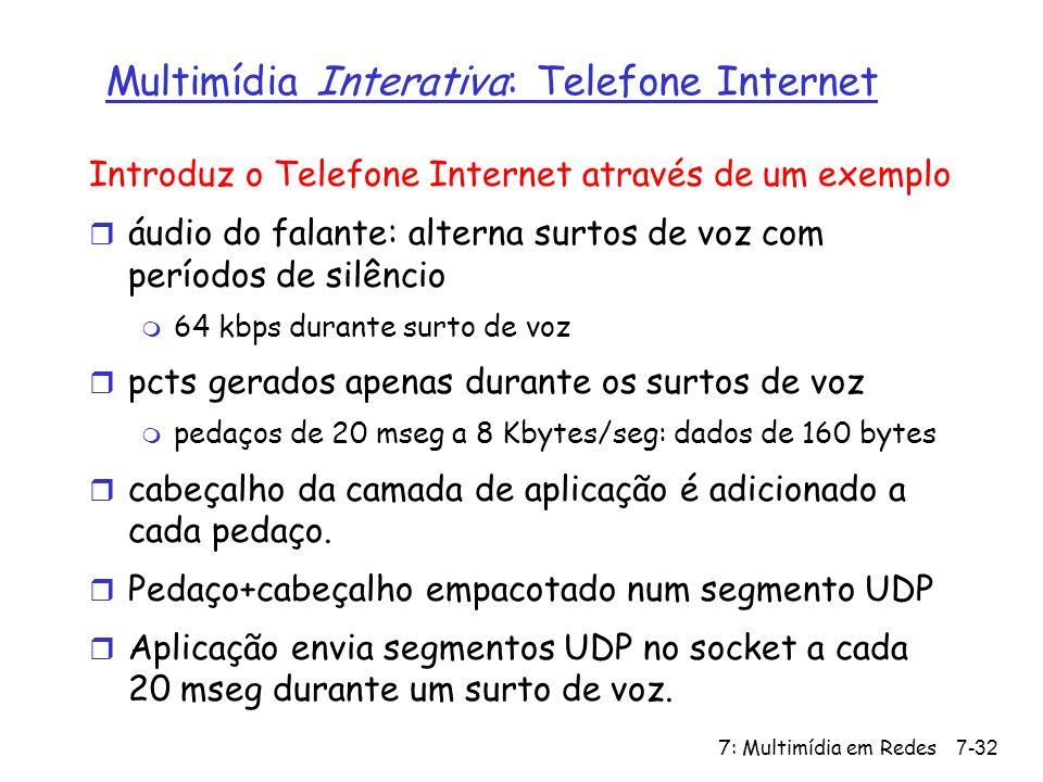 7: Multimídia em Redes7-32 Multimídia Interativa: Telefone Internet Introduz o Telefone Internet através de um exemplo r áudio do falante: alterna surtos de voz com períodos de silêncio m 64 kbps durante surto de voz r pcts gerados apenas durante os surtos de voz m pedaços de 20 mseg a 8 Kbytes/seg: dados de 160 bytes r cabeçalho da camada de aplicação é adicionado a cada pedaço.