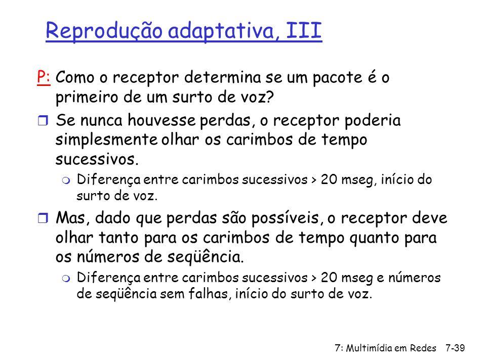 7: Multimídia em Redes7-39 Reprodução adaptativa, III P: Como o receptor determina se um pacote é o primeiro de um surto de voz.