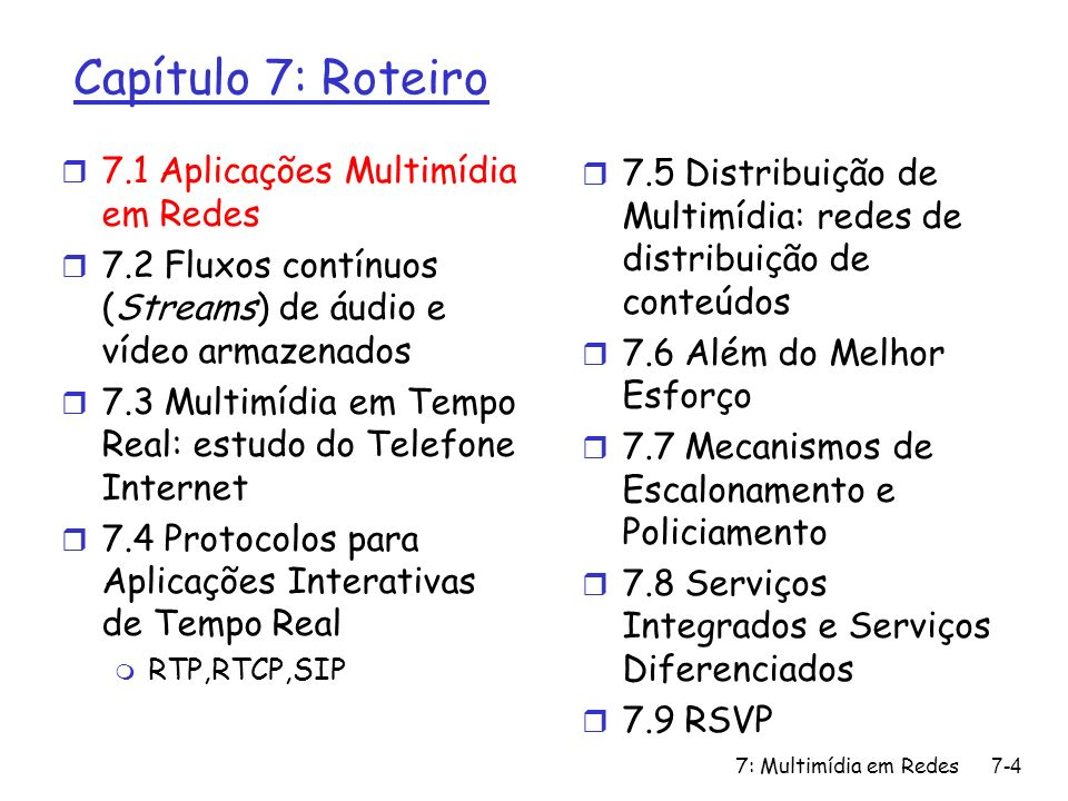 7: Multimídia em Redes7-115 RSVP: example 2 r receiver H2 sends reservation message for source H4 at bandwidth b m propagated upstream towards H4, reserving b H2 H3 H4 H1 R1 R3 L1 L2 L3 L4 L6 L7 H2 H3 L2 L3 L2(H1-via-H1 ;H4-via-R2 ) L6(H1-via-H1 ) L1(H4-via-R2 ) in out L6(H4-via-R3 ) L7(H1-via-R1 ) in out L1, L6 L6, L7 L3(H4-via-H4 ; H1-via-R2 ) L4(H1-via-62 ) L7(H4-via-H4 ) in out L4, L7 R2 (b) L1 b b b b