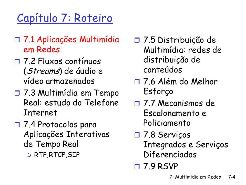 7: Multimídia em Redes7-15 Capítulo 7: Roteiro r 7.1 Aplicações Multimídia em Redes r 7.2 Fluxos contínuos de áudio e vídeo armazenados r 7.3 Multimídia em Tempo Real: estudo do Telefone Internet r 7.4 Protocolos para Aplicações Interativas de Tempo Real m RTP,RTCP,SIP r 7.5 Distribuição de Multimídia: redes de distribuição de conteúdos r 7.6 Além do Melhor Esforço r 7.7 Mecanismos de Escalonamento e Policiamento r 7.8 Serviços Integrados e Serviços Diferenciados r 7.9 RSVP