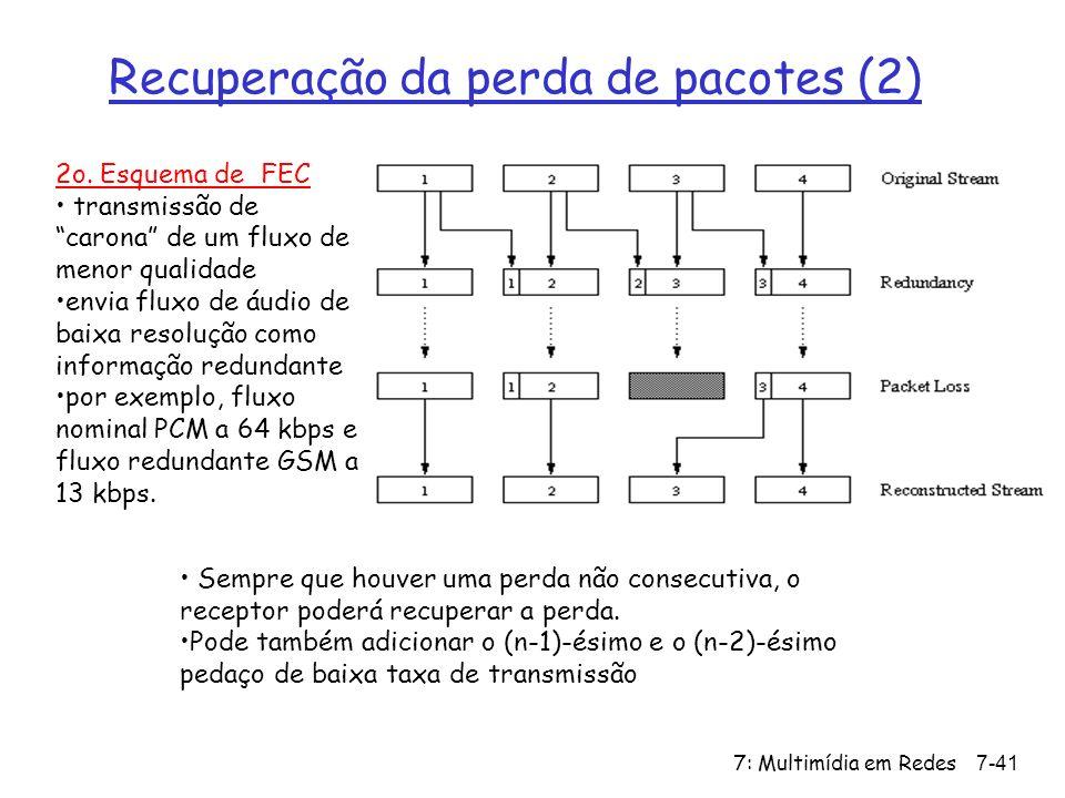 7: Multimídia em Redes7-41 Recuperação da perda de pacotes (2) 2o.
