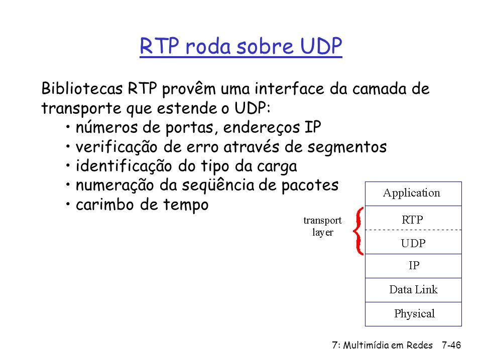 7: Multimídia em Redes7-46 RTP roda sobre UDP Bibliotecas RTP provêm uma interface da camada de transporte que estende o UDP: números de portas, endereços IP verificação de erro através de segmentos identificação do tipo da carga numeração da seqüência de pacotes carimbo de tempo