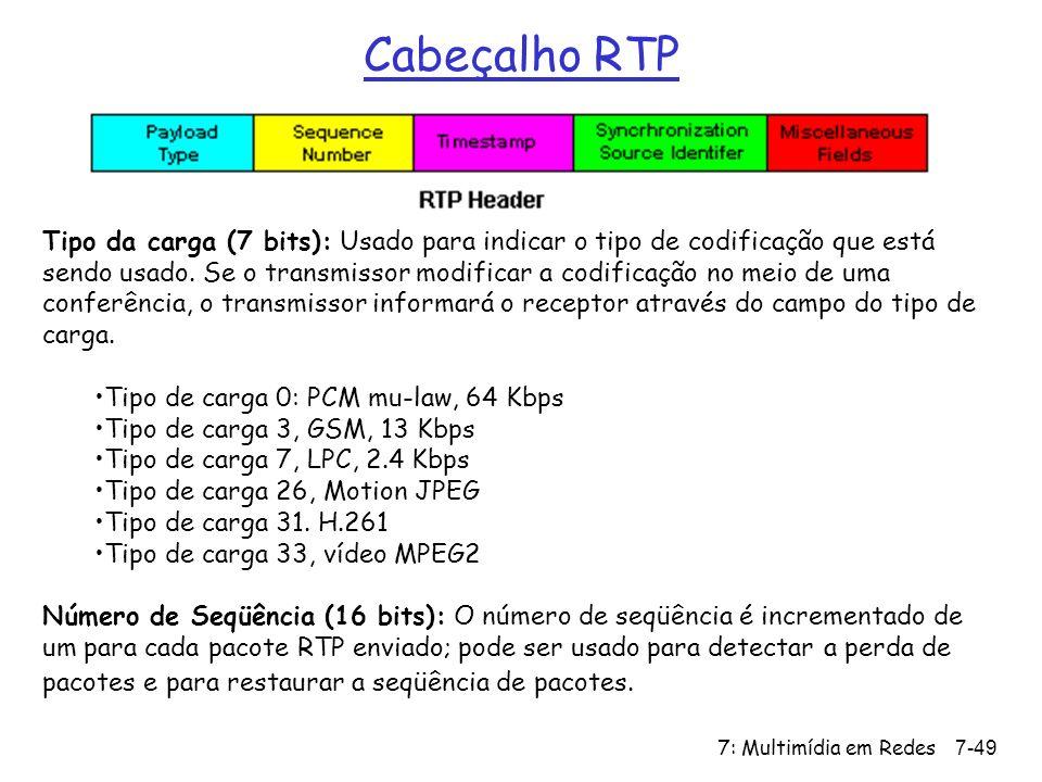 7: Multimídia em Redes7-49 Cabeçalho RTP Tipo da carga (7 bits): Usado para indicar o tipo de codificação que está sendo usado.