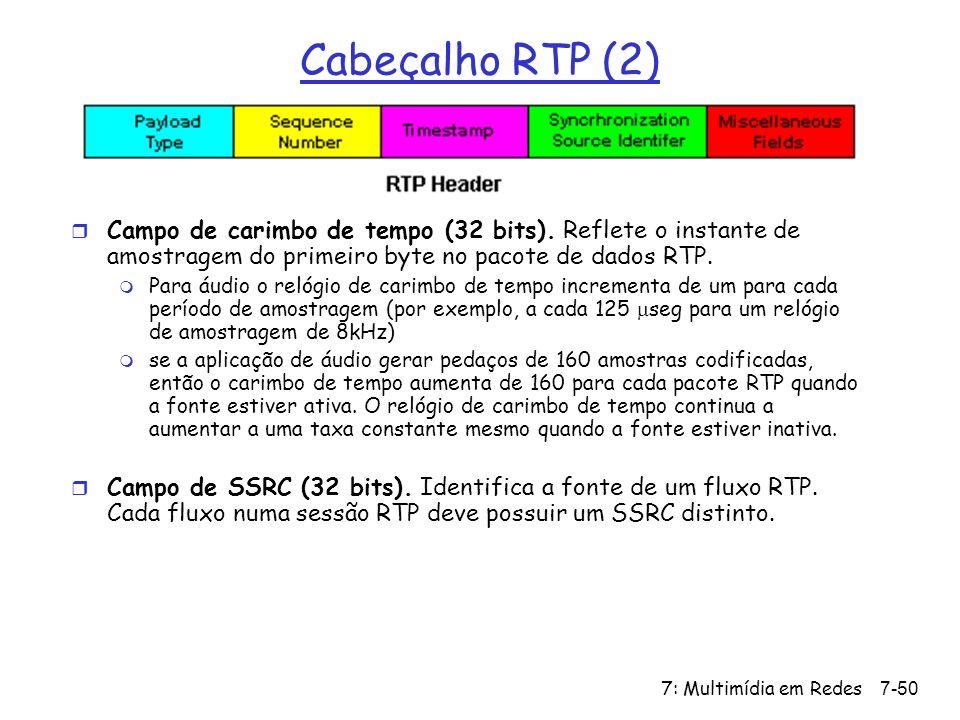7: Multimídia em Redes7-50 Cabeçalho RTP (2) r Campo de carimbo de tempo (32 bits).