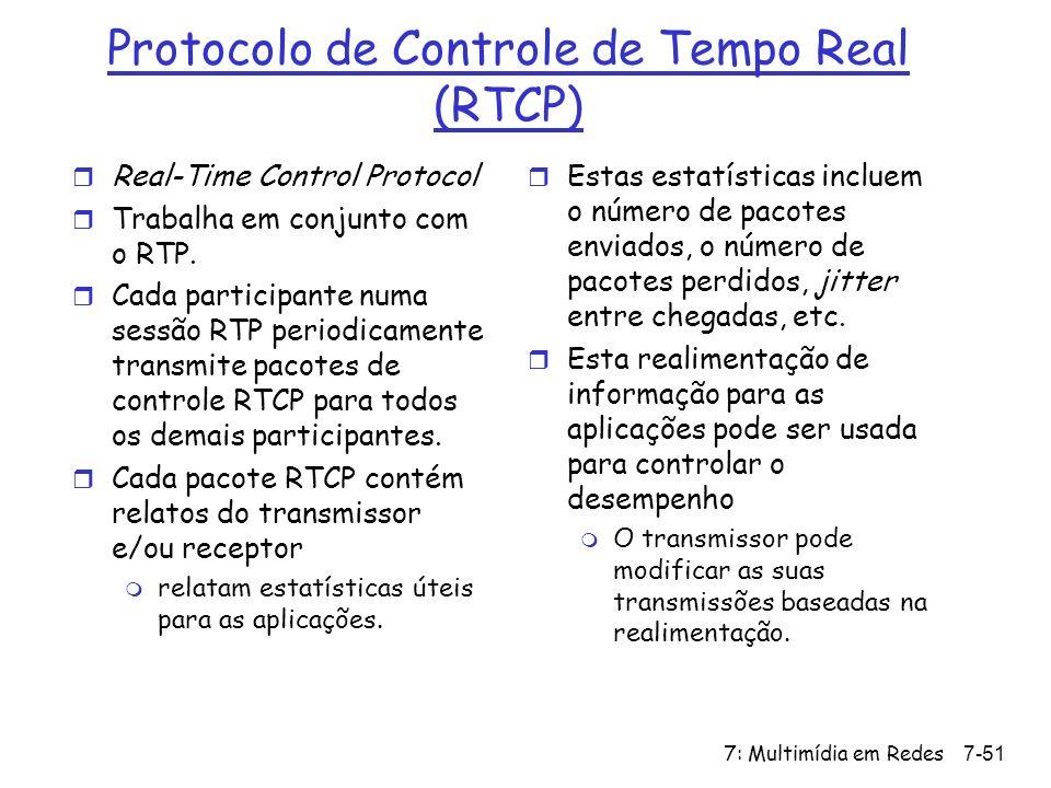 7: Multimídia em Redes7-51 Protocolo de Controle de Tempo Real (RTCP) r Real-Time Control Protocol r Trabalha em conjunto com o RTP.