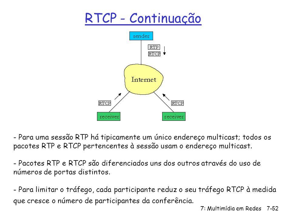 7: Multimídia em Redes7-52 RTCP - Continuação - Para uma sessão RTP há tipicamente um único endereço multicast; todos os pacotes RTP e RTCP pertencentes à sessão usam o endereço multicast.