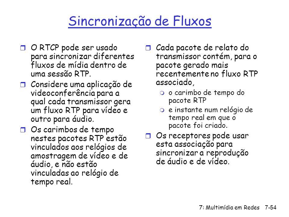 7: Multimídia em Redes7-54 Sincronização de Fluxos r O RTCP pode ser usado para sincronizar diferentes fluxos de mídia dentro de uma sessão RTP.