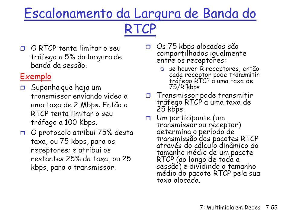 7: Multimídia em Redes7-55 Escalonamento da Largura de Banda do RTCP r O RTCP tenta limitar o seu tráfego a 5% da largura de banda da sessão.