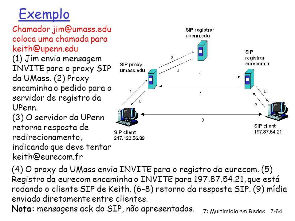 7: Multimídia em Redes7-64 Exemplo Chamador jim@umass.edu coloca uma chamada para keith@upenn.edu (1) Jim envia mensagem INVITE para o proxy SIP da UMass.