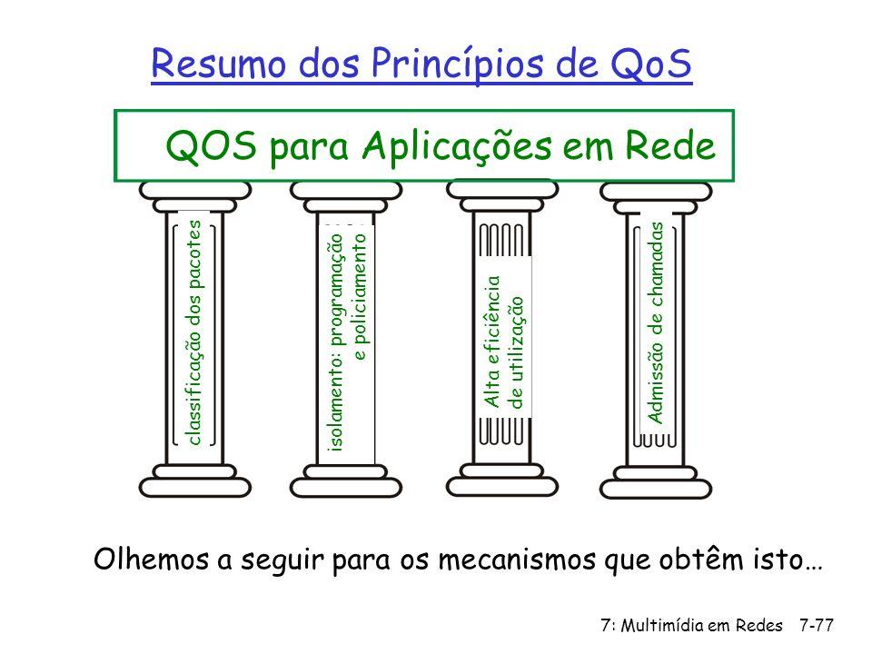 7: Multimídia em Redes7-77 Resumo dos Princípios de QoS QOS para Aplicações em Rede classificação dos pacotes isolamento: programação e policiamento Alta eficiência de utilização Admissão de chamadas Olhemos a seguir para os mecanismos que obtêm isto…