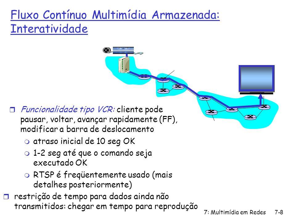 7: Multimídia em Redes7-29 RTSP: exemplo de diálogo C: SETUP rtsp://audio.example.com/twister/audio RTSP/1.0 Transport: rtp/udp; compression; port=3056; mode=PLAY S: RTSP/1.0 200 1 OK Session 4231 C: PLAY rtsp://audio.example.com/twister/audio.en/lofi RTSP/1.0 Session: 4231 Range: npt=0- C: PAUSE rtsp://audio.example.com/twister/audio.en/lofi RTSP/1.0 Session: 4231 Range: npt=37 C: TEARDOWN rtsp://audio.example.com/twister/audio.en/lofi RTSP/1.0 Session: 4231 S: 200 3 OK