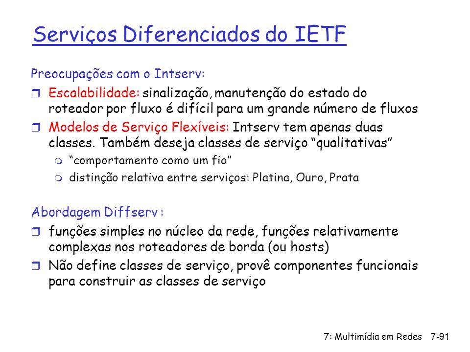7: Multimídia em Redes7-91 Serviços Diferenciados do IETF Preocupações com o Intserv: r Escalabilidade: sinalização, manutenção do estado do roteador por fluxo é difícil para um grande número de fluxos r Modelos de Serviço Flexíveis: Intserv tem apenas duas classes.