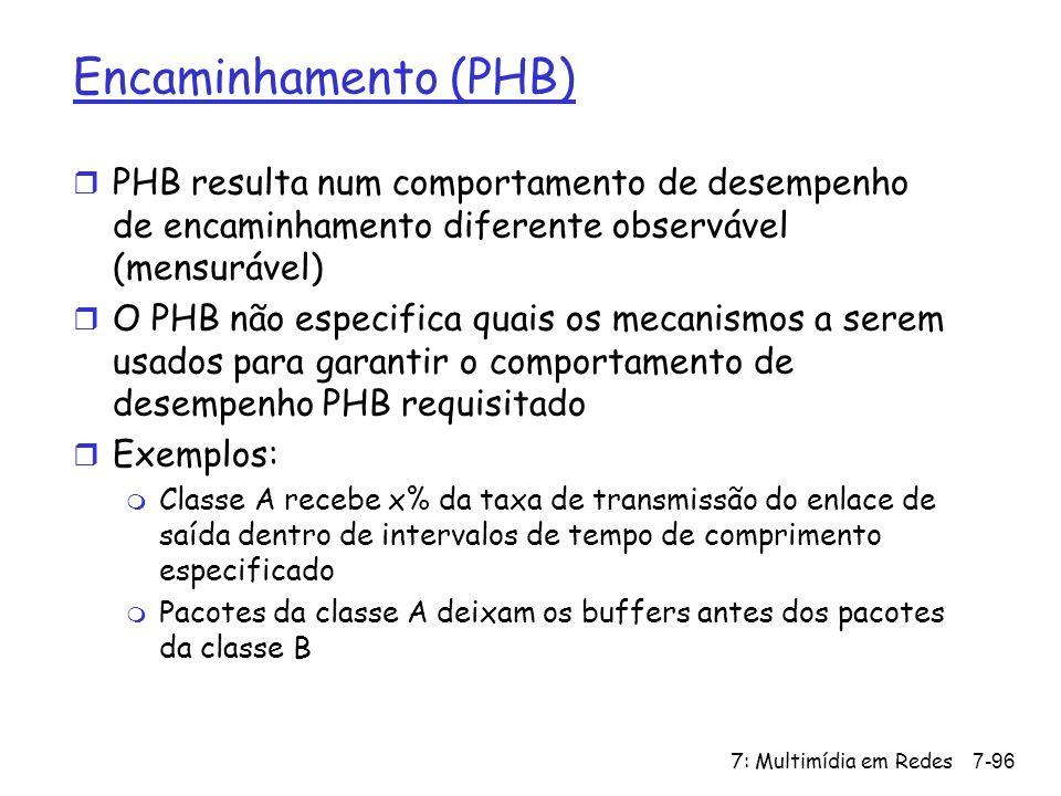 7: Multimídia em Redes7-96 Encaminhamento (PHB) r PHB resulta num comportamento de desempenho de encaminhamento diferente observável (mensurável) r O PHB não especifica quais os mecanismos a serem usados para garantir o comportamento de desempenho PHB requisitado r Exemplos: m Classe A recebe x% da taxa de transmissão do enlace de saída dentro de intervalos de tempo de comprimento especificado m Pacotes da classe A deixam os buffers antes dos pacotes da classe B