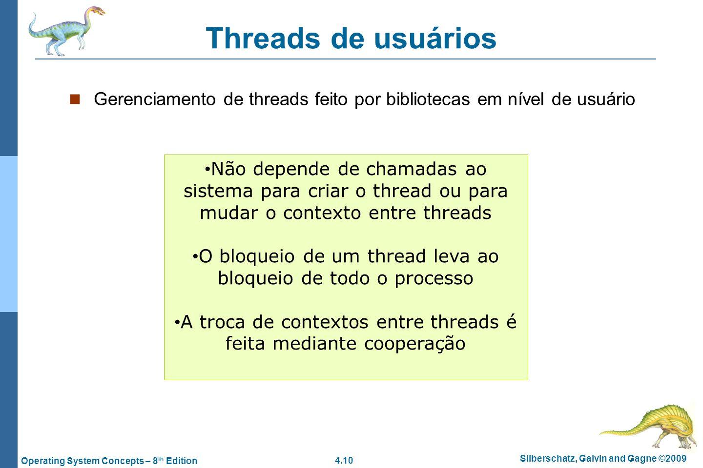 4.10 Silberschatz, Galvin and Gagne ©2009 Operating System Concepts – 8 th Edition Threads de usuários Gerenciamento de threads feito por bibliotecas