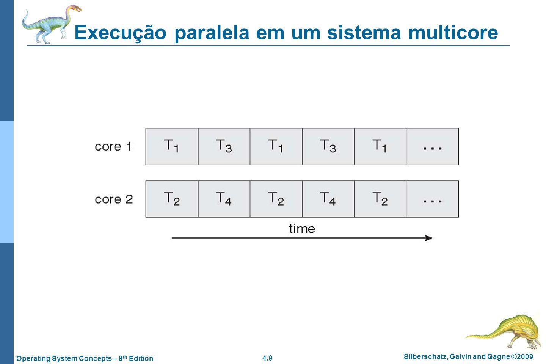 4.9 Silberschatz, Galvin and Gagne ©2009 Operating System Concepts – 8 th Edition Execução paralela em um sistema multicore