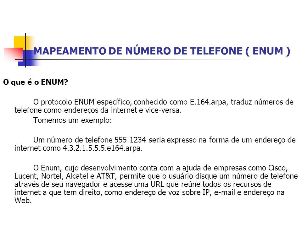 MAPEAMENTO DE NÚMERO DE TELEFONE ( ENUM ) O que é o ENUM? O protocolo ENUM específico, conhecido como E.164.arpa, traduz números de telefone como ende