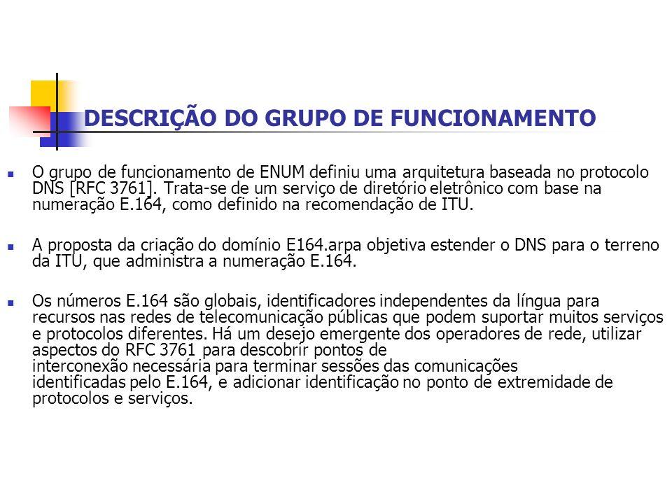 DESCRIÇÃO DO GRUPO DE FUNCIONAMENTO O grupo de funcionamento de ENUM definiu uma arquitetura baseada no protocolo DNS [RFC 3761]. Trata-se de um servi
