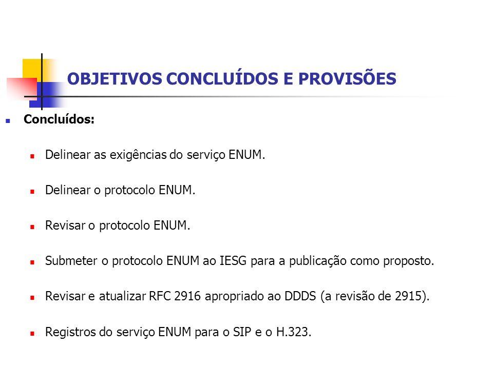 OBJETIVOS CONCLUÍDOS E PROVISÕES Concluídos: Delinear as exigências do serviço ENUM. Delinear o protocolo ENUM. Revisar o protocolo ENUM. Submeter o p